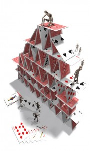 A house of cards, built by robots.